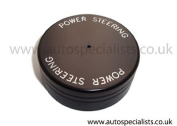 Pro-Series Satin Black Power Steering Cap Cover with lettering (Cog type)