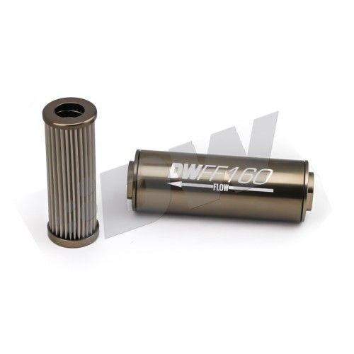 In-line fuel filter element and housing kit, stainless steel 10 micron,-8AN,160mm by Deatschwerks